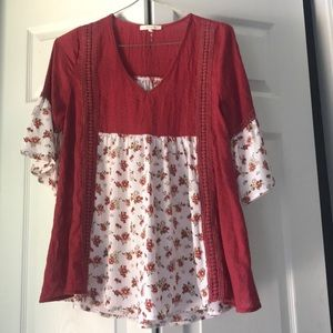 Floral and red boutique top